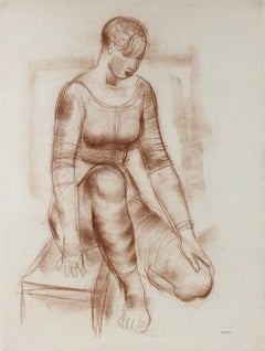 Sepia Seated Woman Early-Mid Century Pastel