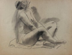 Cross-Legged Female Nude Early-Mid Century Charcoal Drawing