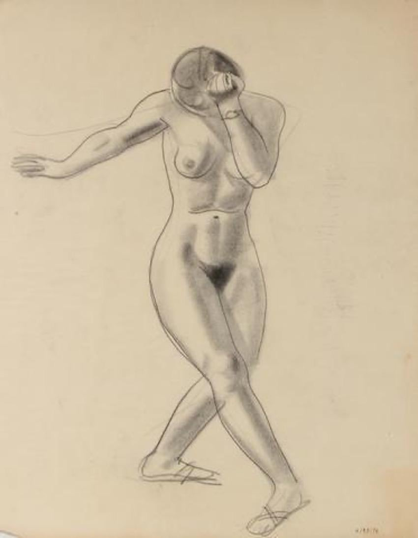Nude Female Dancer Early-Mid Century Graphite Drawing