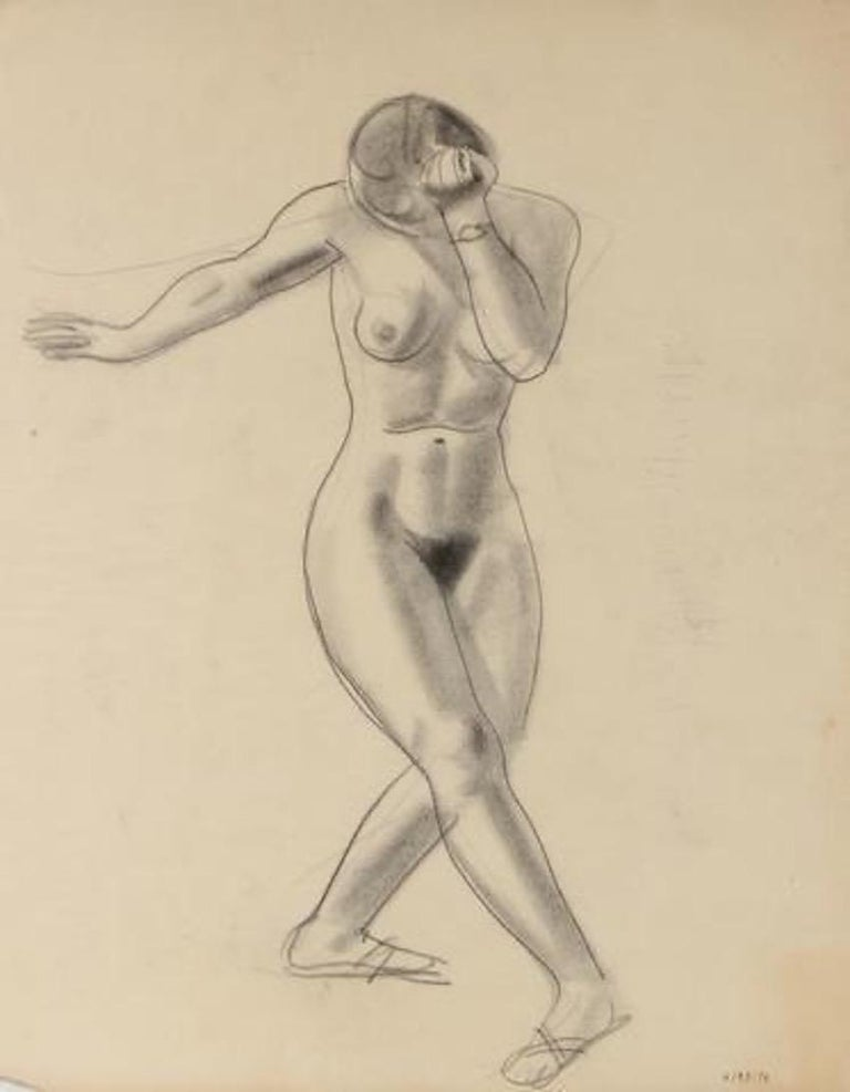 Nude Female Dancer Early-Mid Century Graphite Drawing - Art by Forrest Hibbits