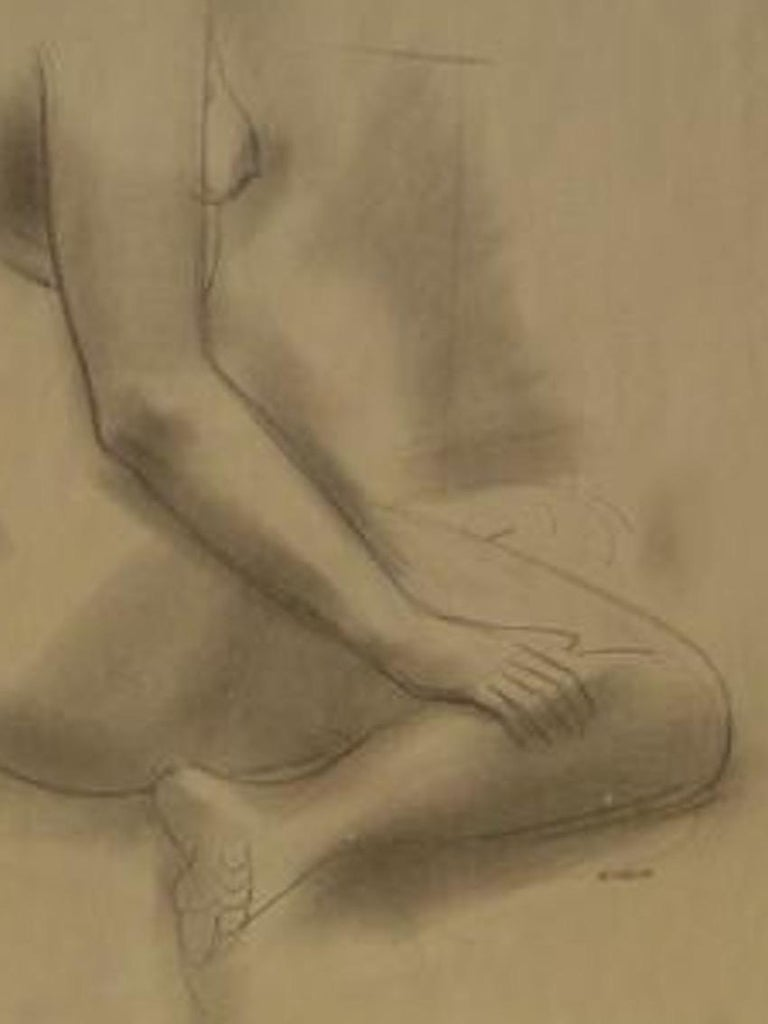 Seated Female Nude 1930-60s Graphite Sketch - American Modern Art by Forrest Hibbits