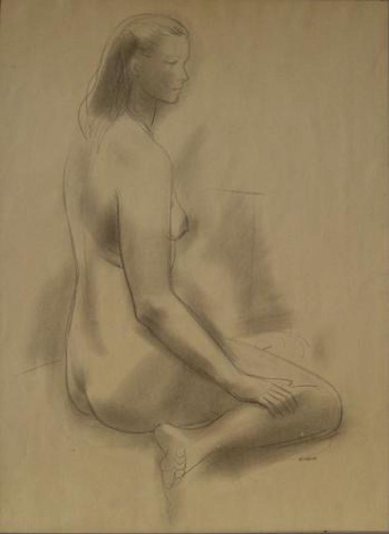 Seated Female Nude 1930-60s Graphite Sketch - Art by Forrest Hibbits