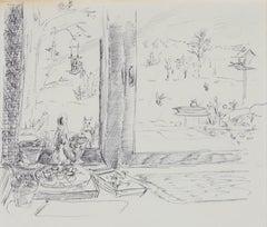 Backyard Windowsill Still Life 1940-60s Ink
