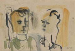 Abstracted Portrait Pair 1940-60s Gouache & Ink