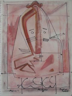 Pink Surrealist Face 1967 Oil & Ink
