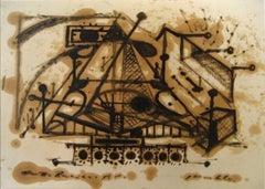 Geometric Deconstruction 1960s Oil on Paper