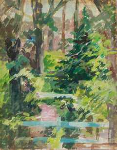 """Backyard"", Connecticut 1960-80s Gouache"