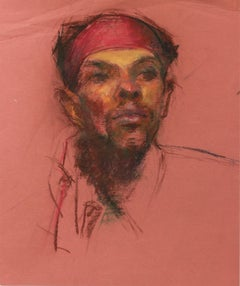1940s Pastel on Paper Study for a Portrait in Red