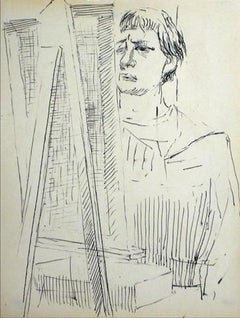 Artist at the Easel Mid Century Ink on Paper