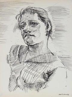 Modernist Portrait Study in Ink 1940-60s