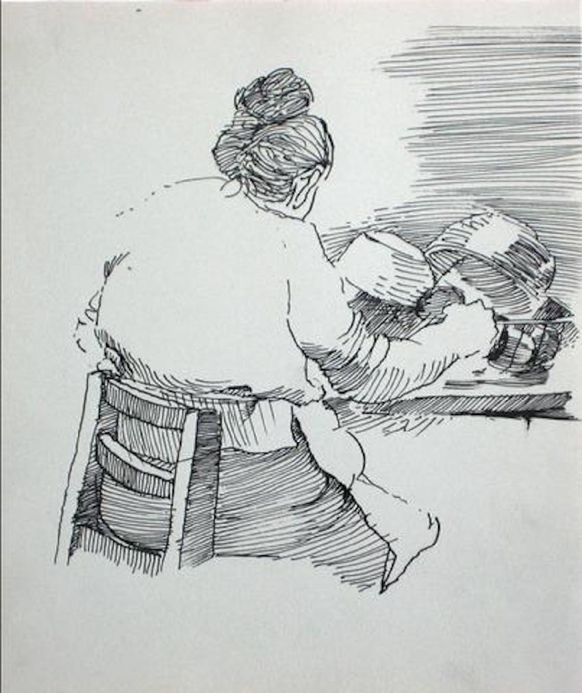 Woman in the Kitchen Modernist Ink Drawing 1940-60s
