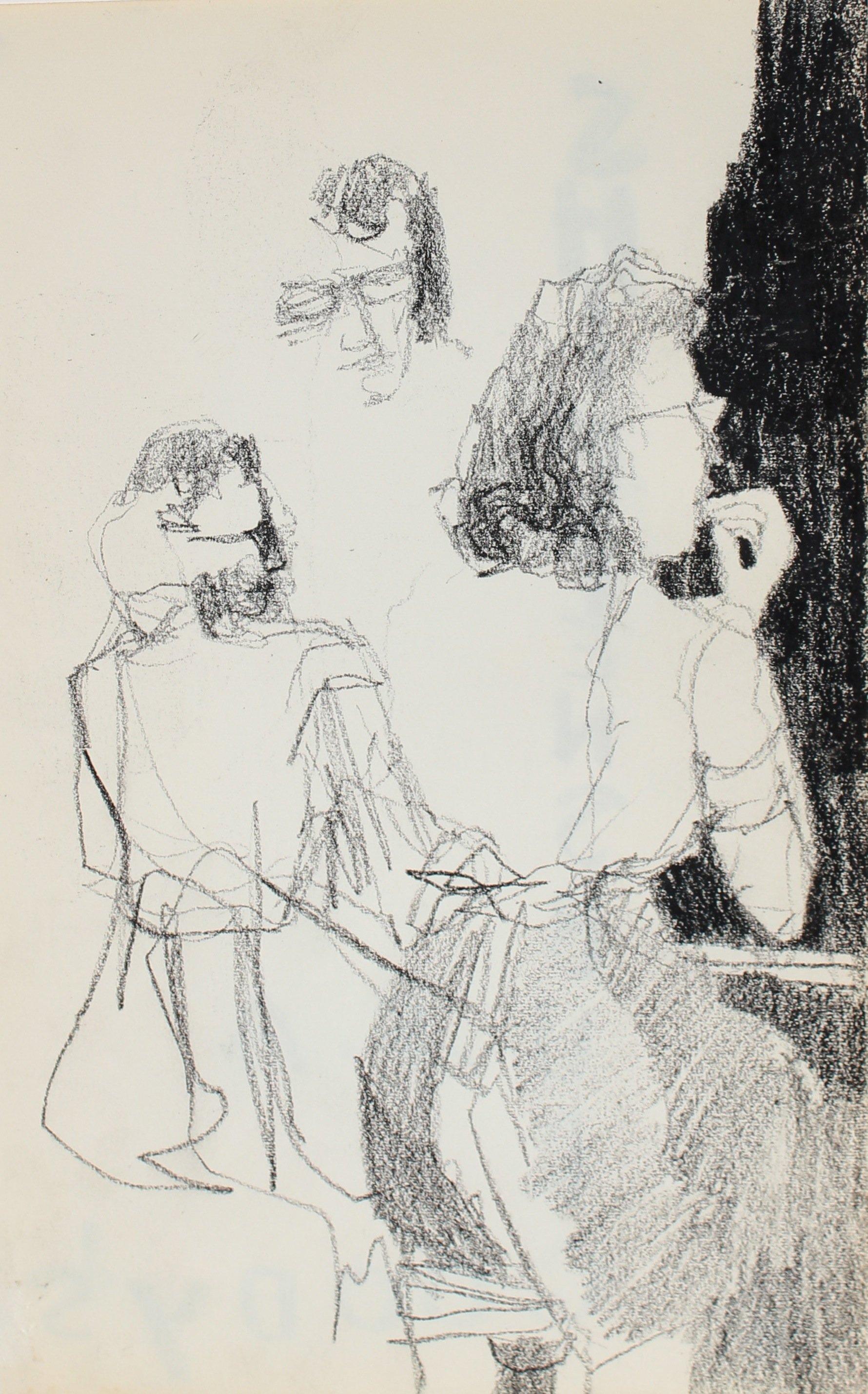 Petite Female Figurative Study Charcoal 1950-60s