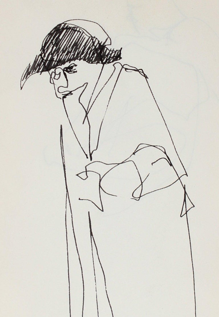Minimal Figure with a Hat in Ink 1959 - Art by Richard Karwoski