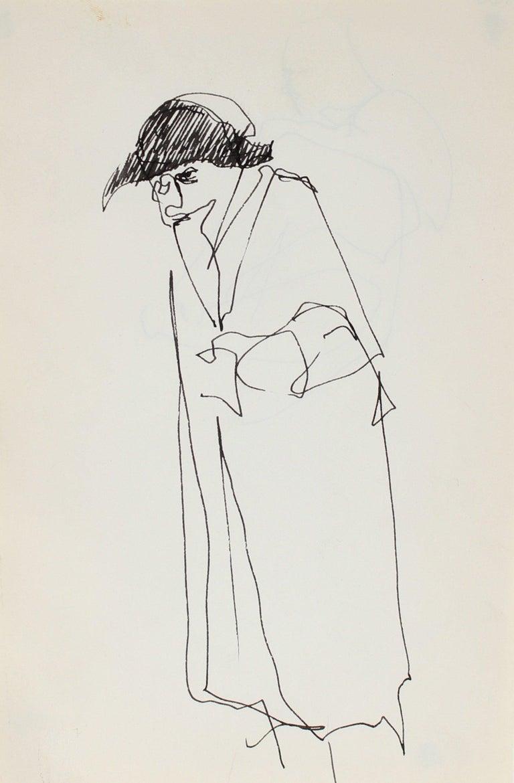 Richard Karwoski Figurative Art - Minimal Figure with a Hat in Ink 1959