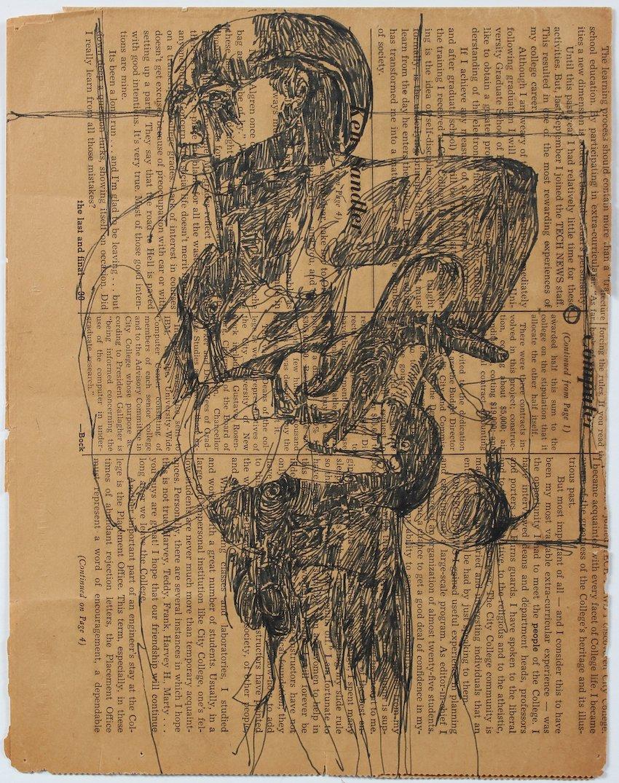 Abstract Figure on Newsprint Mid Century