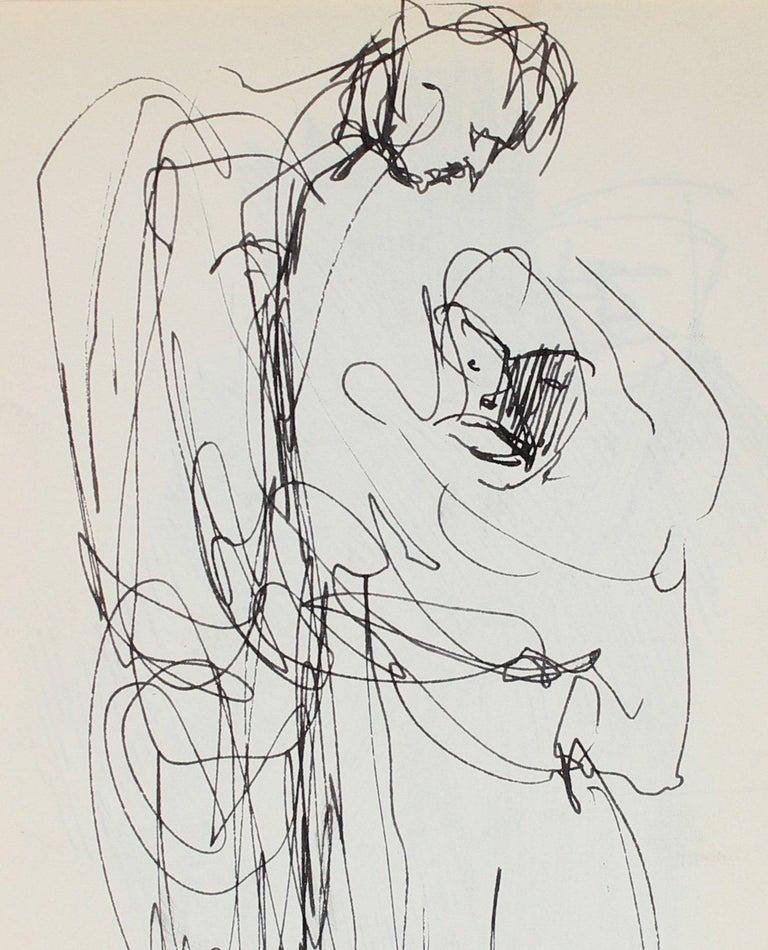 Richard Karwoski Abstract Drawing - Minimal Pair of Figures Ink 1950-60s