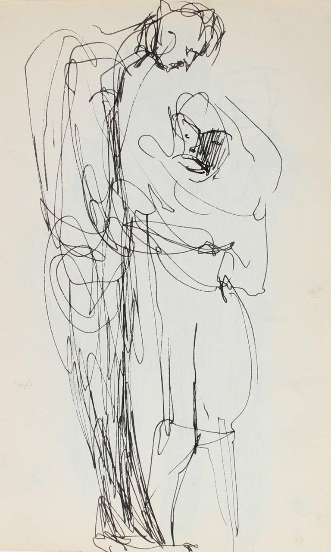 Minimal Pair of Figures Ink 1950-60s - Art by Richard Karwoski