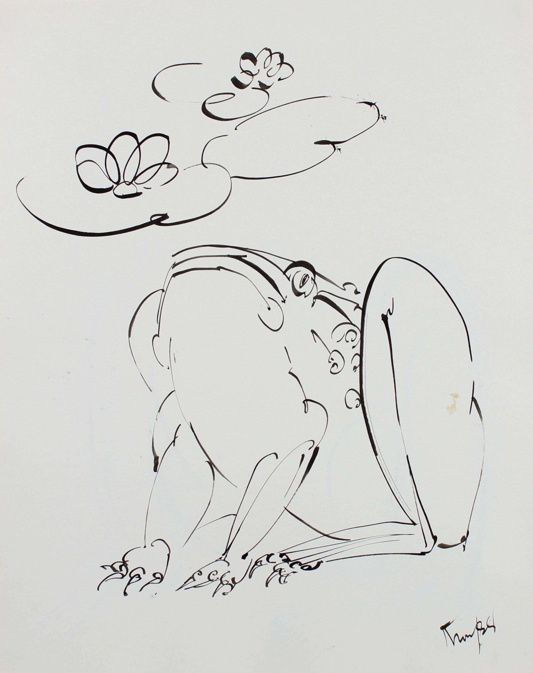 Curious Frog Drawing 1980s Ink