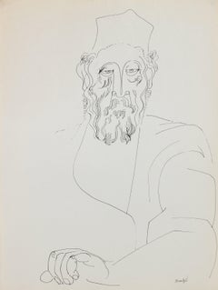 Contemplative Man in Hat 1960-80s Ink Drawing