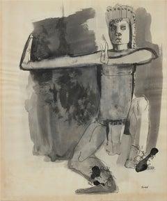 Dancer Figure Ink Drawing 1960-80s