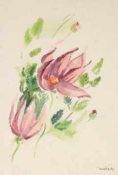 Mid Century Floral Study in Pink, Green and Lavender, Watercolor on Paper