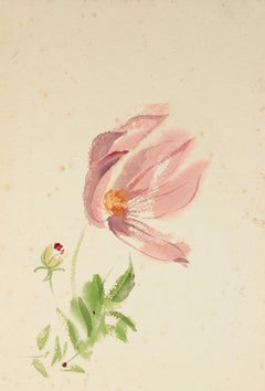Mid Century Watercolor on Paper Floral Study in Pink and Green