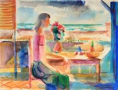 Woman on the Veranda Mid Century Colorful Watercolor