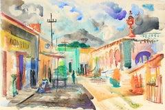 Bright Watercolor City Scene Mid 20th Century