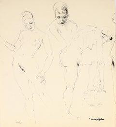 """""""Ellen"""" 1948 Ink on Paper Monochromatic Portrait Drawing"""