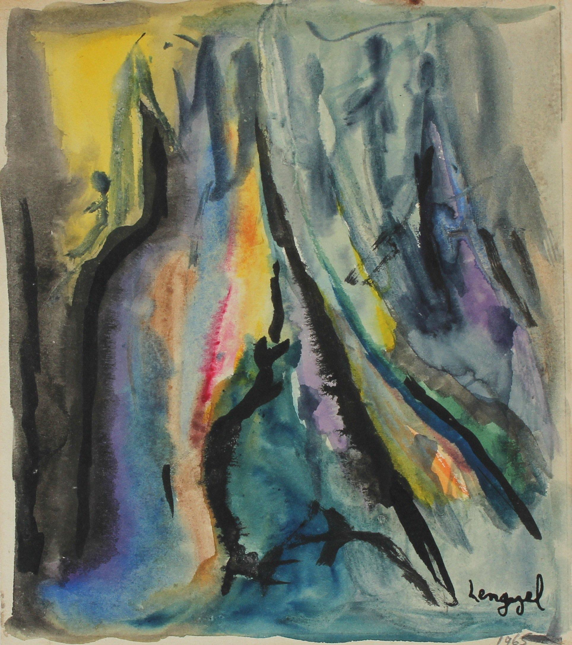"""""""May in the Elements"""" 1965 Abstract Watercolor"""