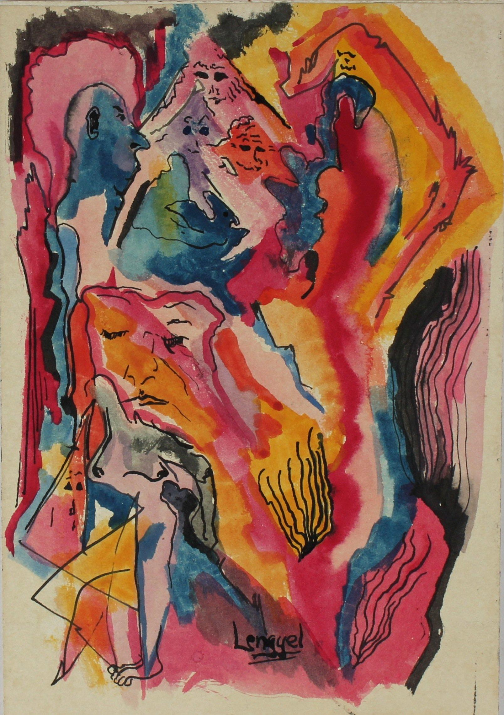 """""""Anxiety Fantasy"""" 1965 Colorful Ink and Watercolor"""
