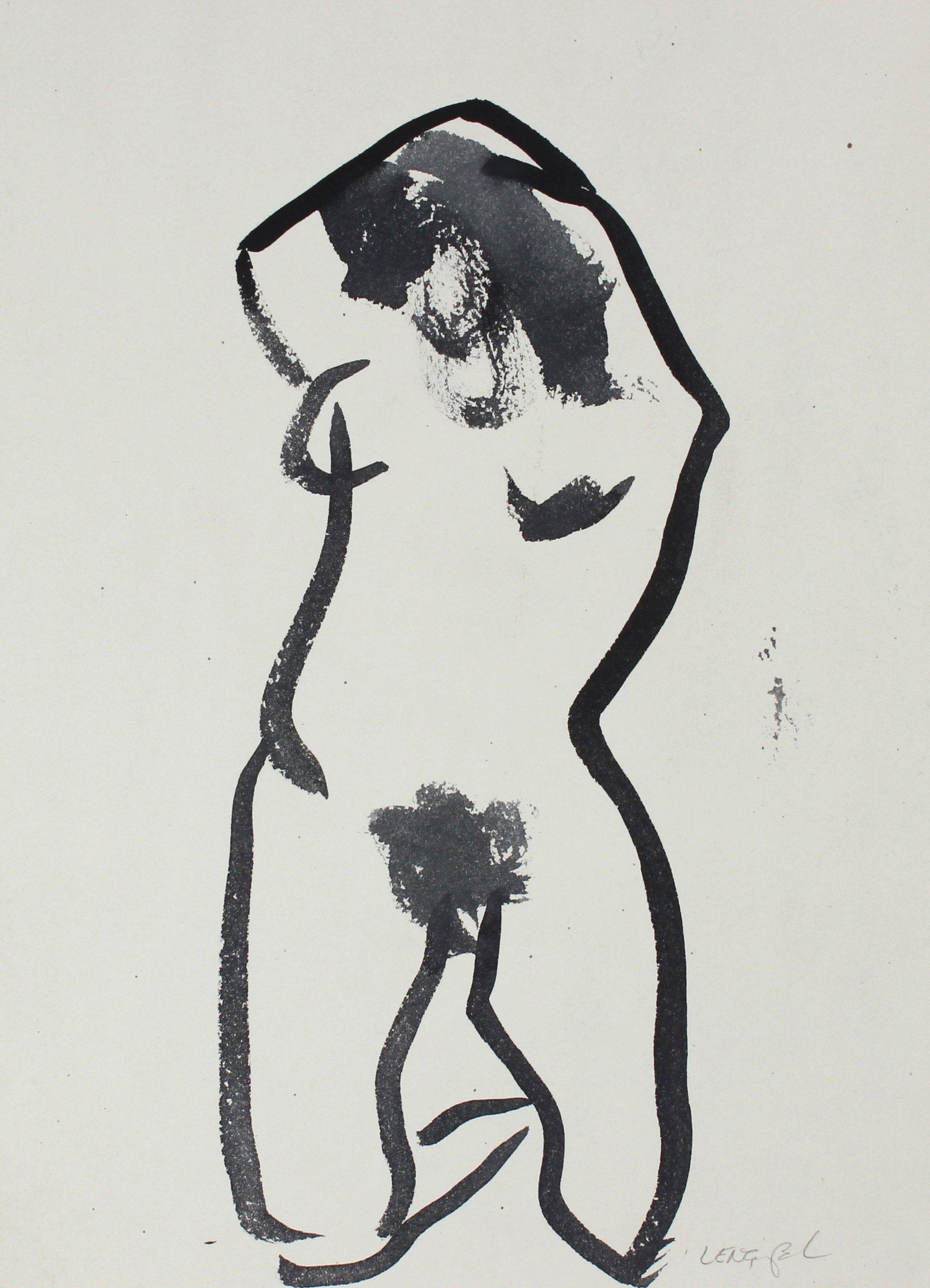 Monochrome Watercolor Female Nude 1980