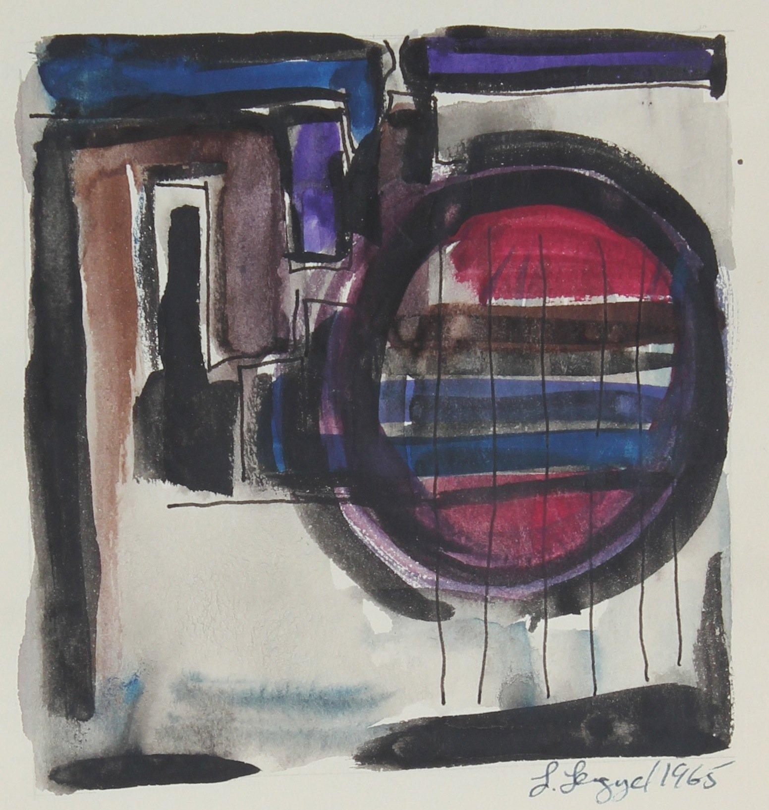 Abstracted Geometric Interior 1965 Gouache and Ink on Paper
