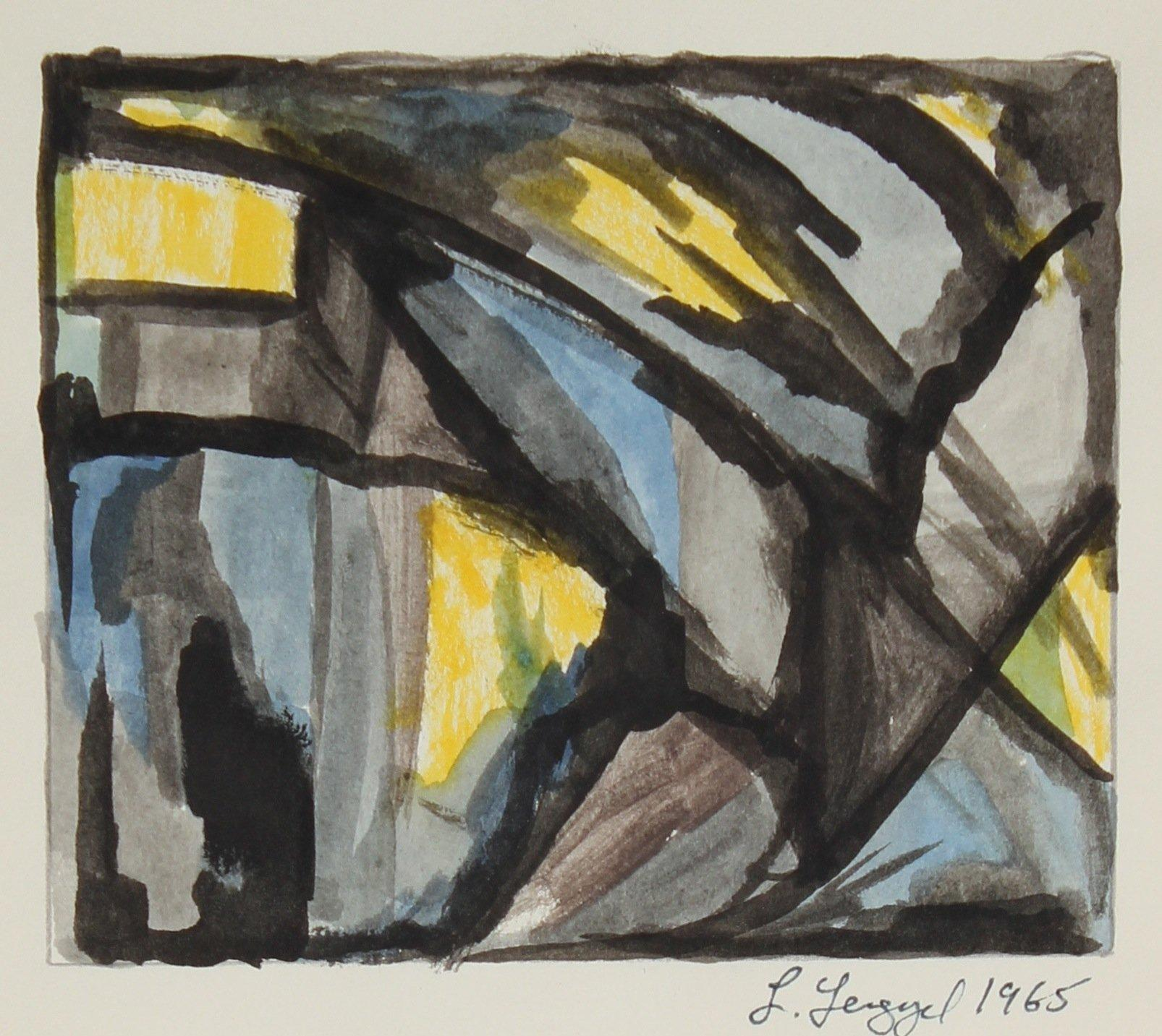 Geometric Abstract 1965 Gouache on Paper Painting