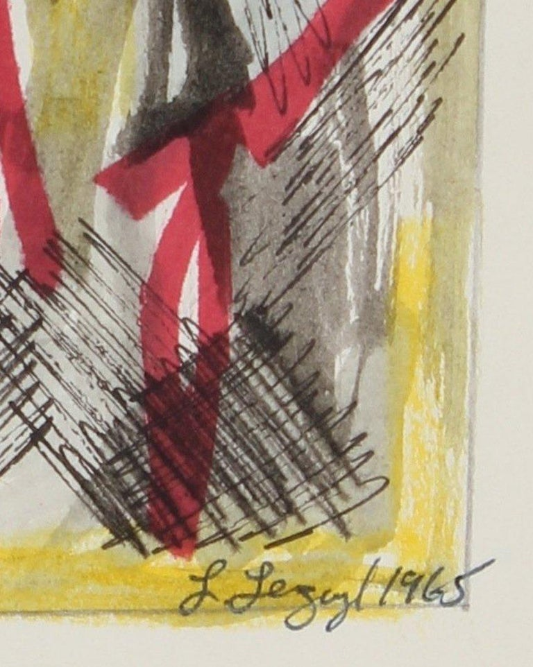 Yellow and Red Abstract 1965 Ink and Gouache - Art by Laura Lengyel