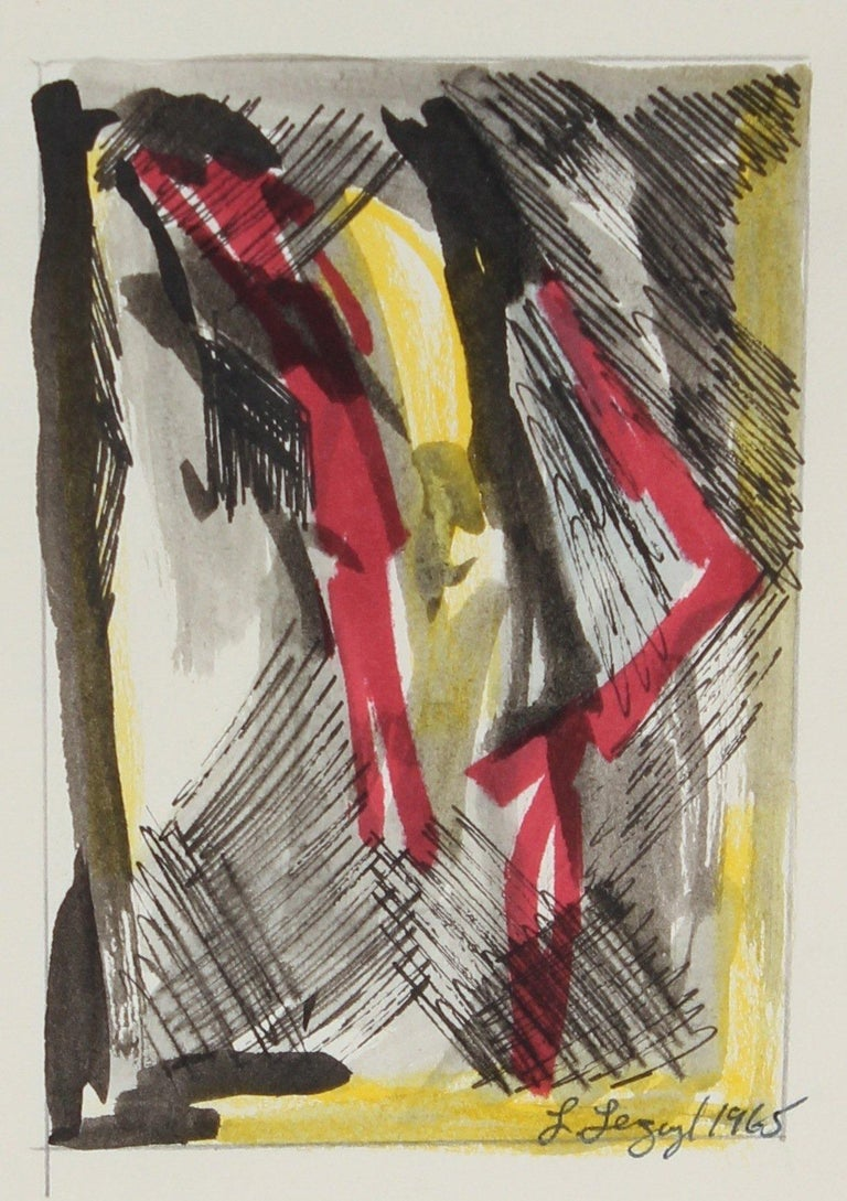 Laura Lengyel Abstract Drawing - Yellow and Red Abstract 1965 Ink and Gouache