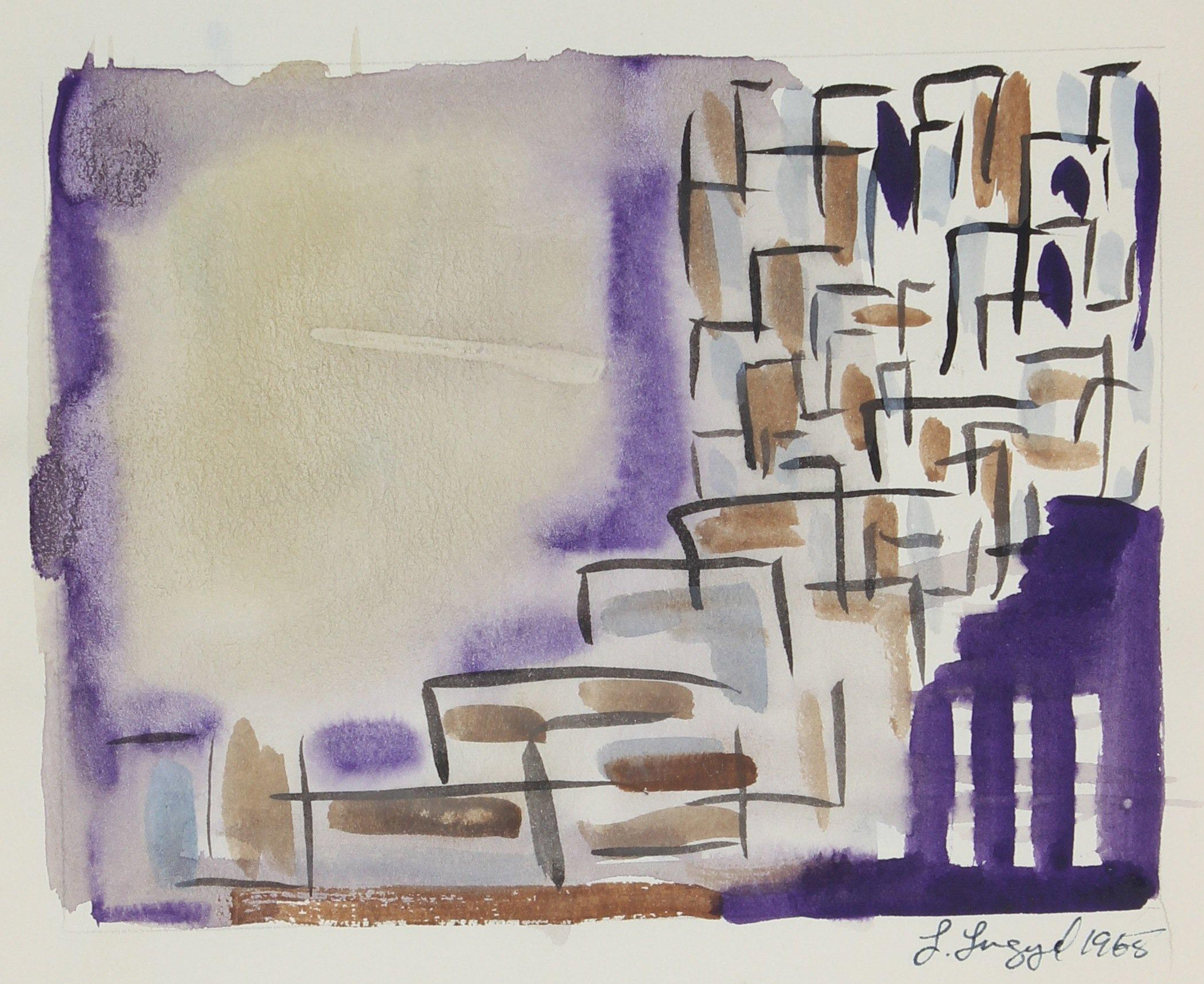 Purple Abstracted Buildings 1965 Gouache Painting