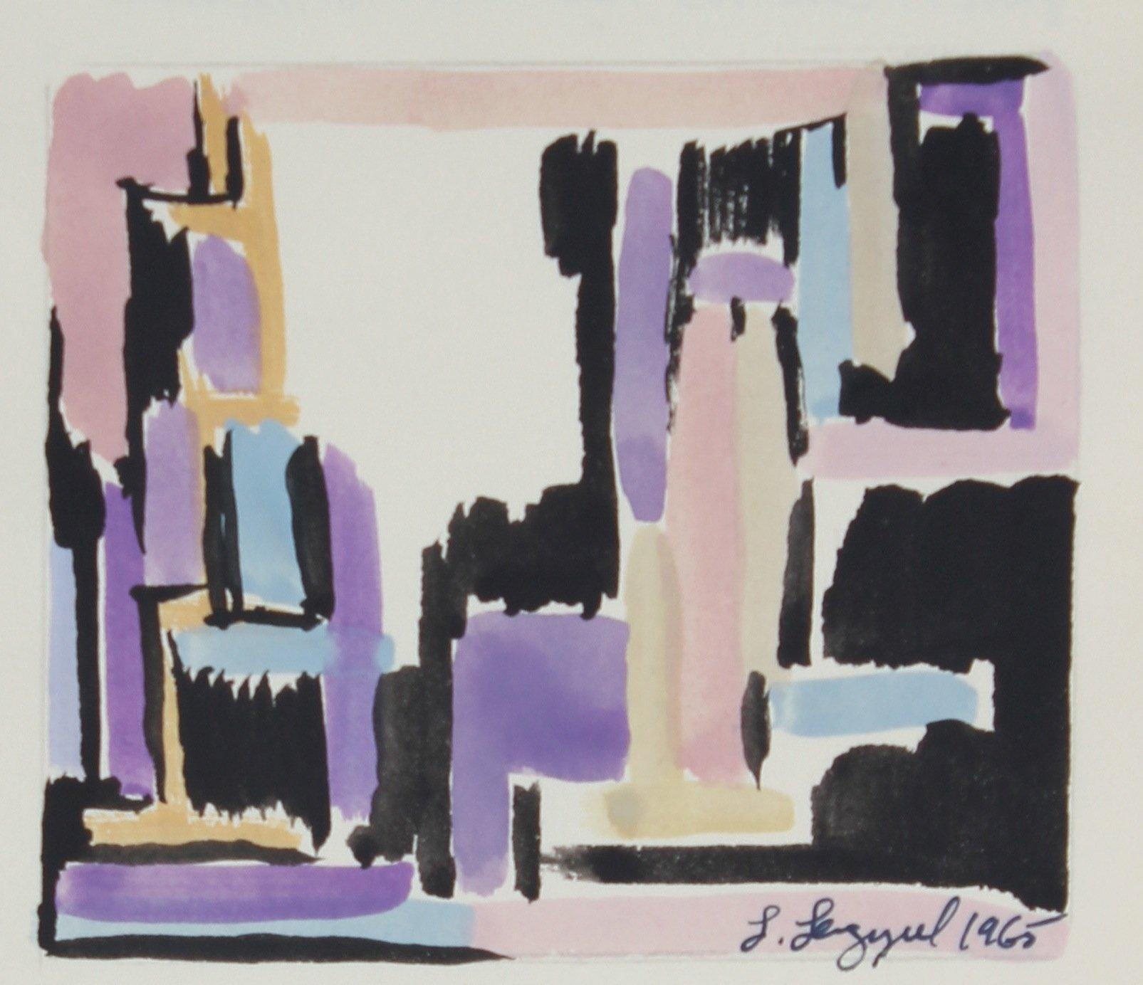 Modernist Purple and Pink Abstract 1965 Gouache