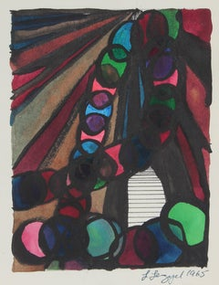 Playful Geometric Abstract 1965 Ink and Gouache