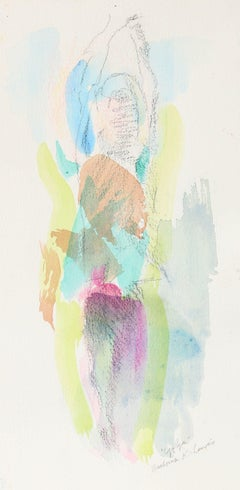 """Yoga"" 20th Century Watercolor and Charcoal Minimalist Colorful Abstract"