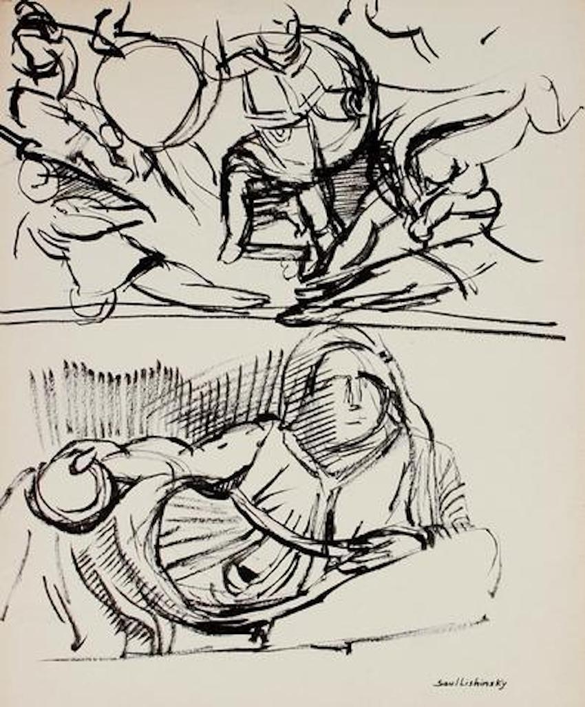 Abstracted Figure Scene Black and White Ink Mid Century