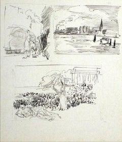 Trio of Sketchbook Studies Ink Drawing 1940-60s