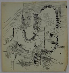 Woman at a Mirror Mid Century Ink Drawing