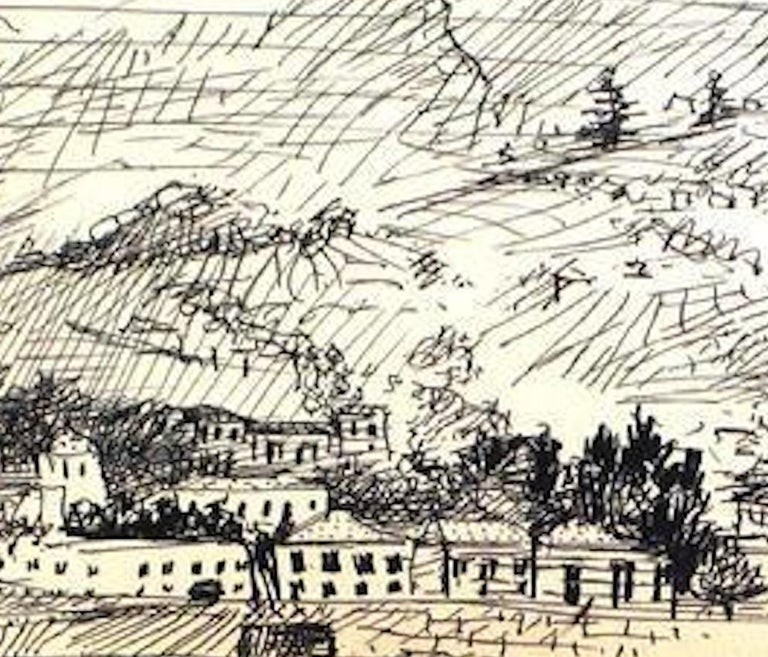 Black and White Hillside Drawing Ink on Paper 1940-60s  - Art by Saul Lishinsky
