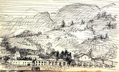 Black and White Hillside Drawing Ink on Paper 1940-60s