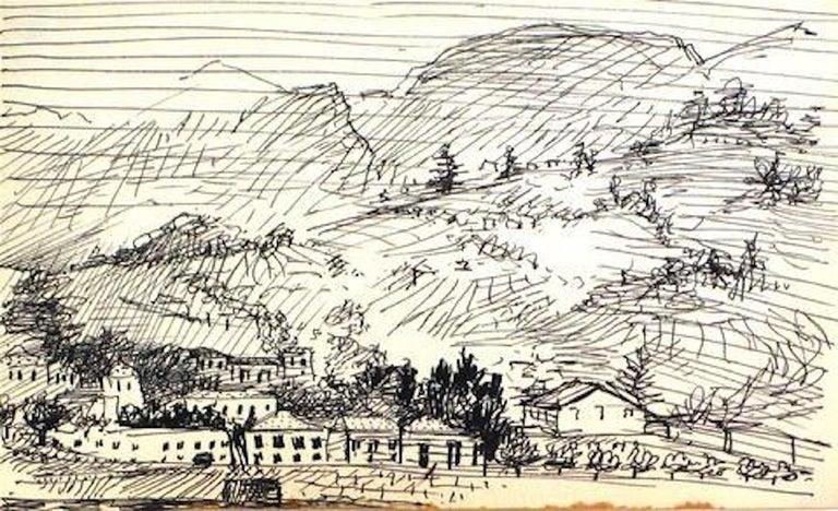 Saul Lishinsky Landscape Art - Black and White Hillside Drawing Ink on Paper 1940-60s