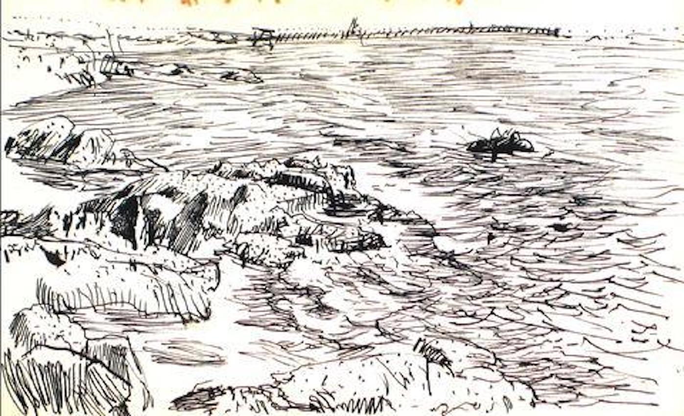 Black and White Expressive Coastal Scene in Ink 1940-60s