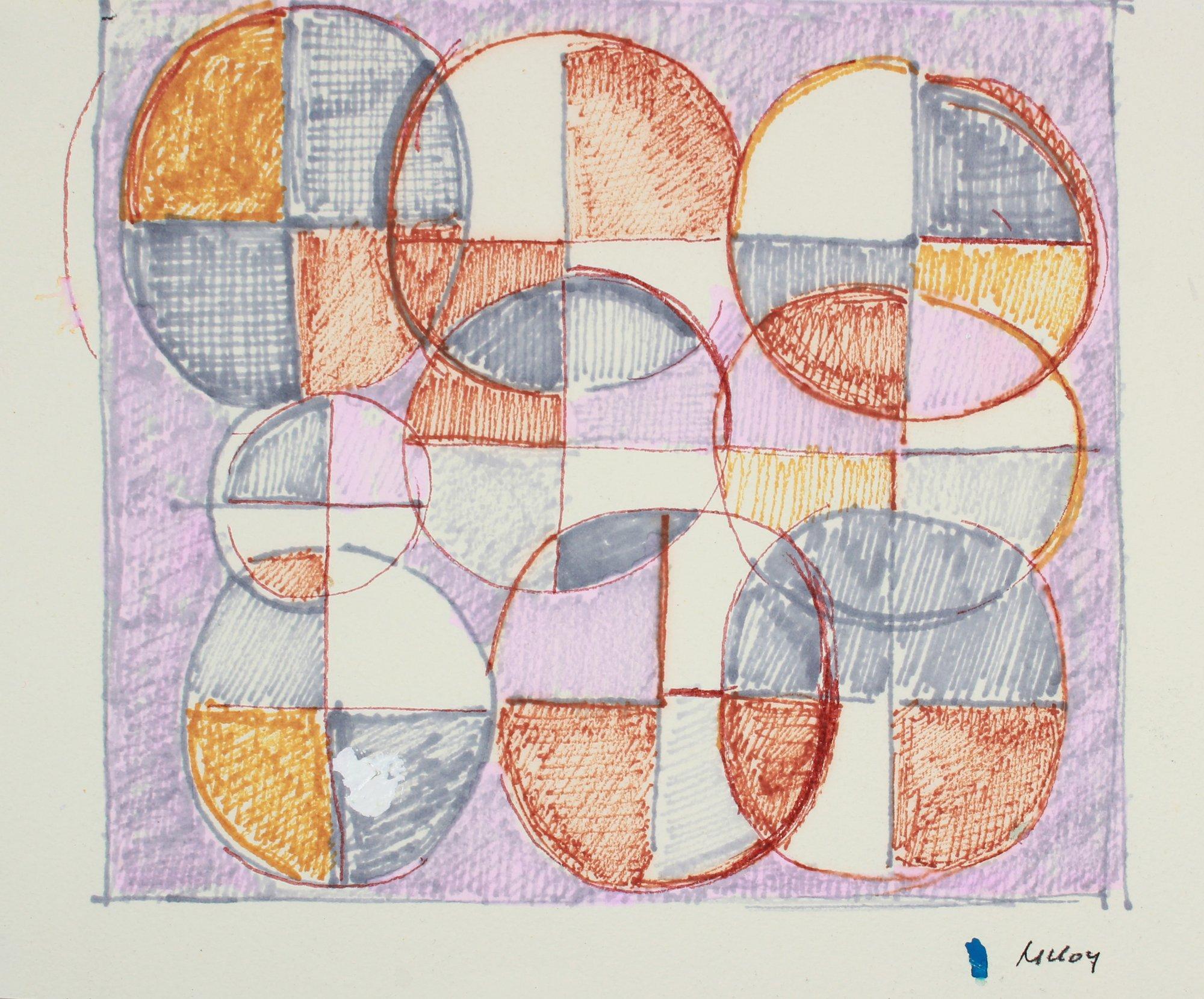Geometric Design in Burnt Orange and Purple Mid 20th Century Drawing