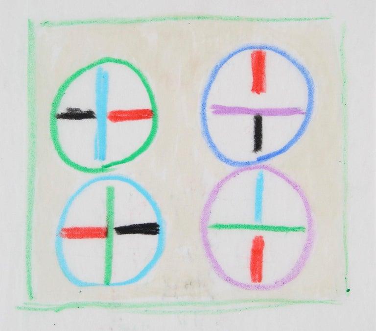 Colorful Circular Geometric Study Mid Century Oil Pastel - Art by Paul McCoy