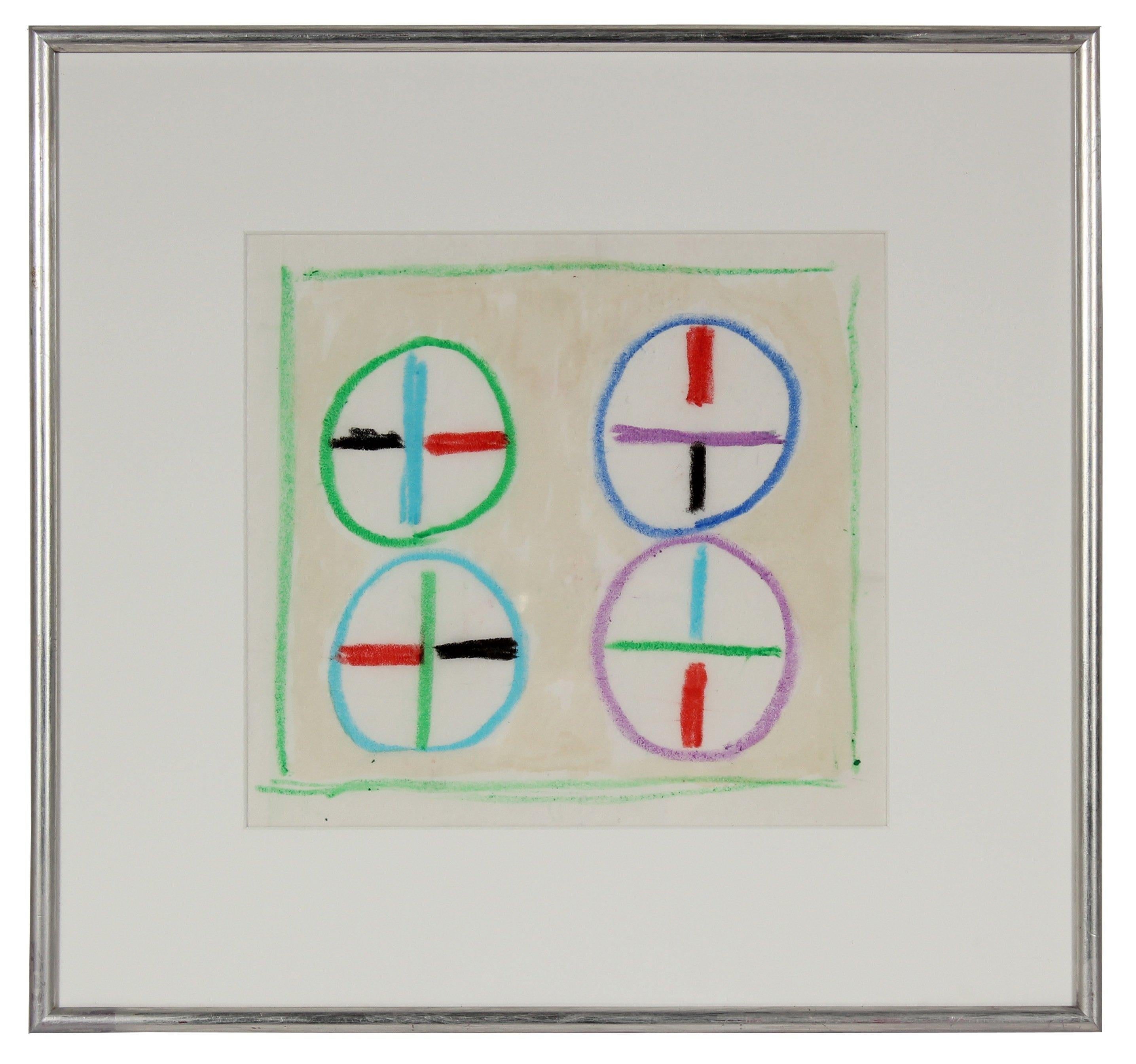 Colorful Circular Geometric Study Mid Century Oil Pastel